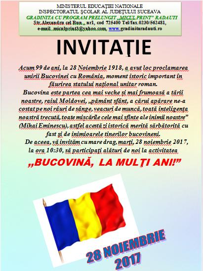 invitatie - BUCOVINA, LA MULTI ANI